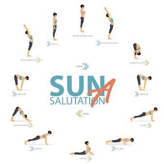 Posturas de yoga en concepto de yoga saludo al sol a en diseño plano para el día internacional del yoga.