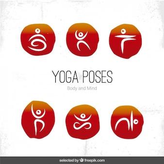 Las posturas de yoga iconos