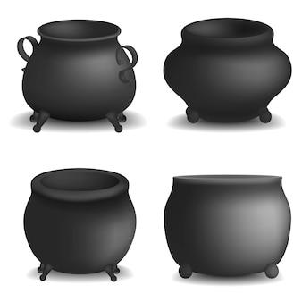 Pote de caldera de halloween maqueta conjunto. ilustración realista de 4 maquetas de vector de caldero pote halloween para web