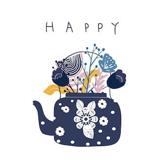 Pote del té del arte popular con el ejemplo del vector de la impresión del bloque de la flor