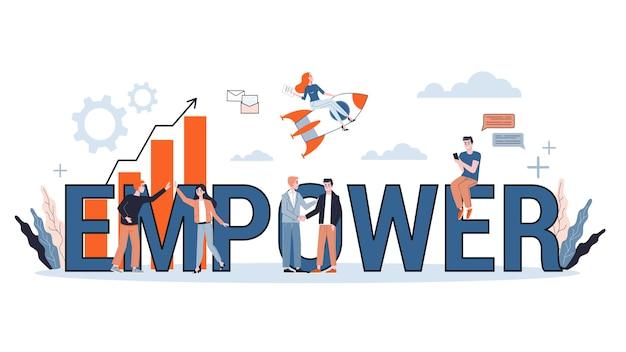Potenciar el concepto de banner de palabra. idea de empoderamiento femenino