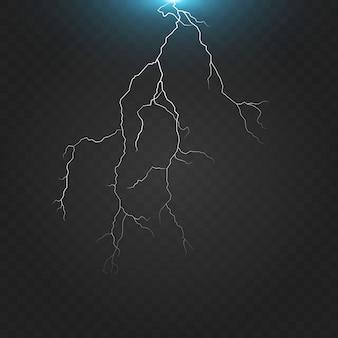 Potente descarga eléctrica golpeando de lado a lado ilustración realista aislada sobre fondo negro transparente. rayo ardiente en la oscuridad. efecto de luz de destello de energía eléctrica