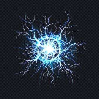 Potente descarga eléctrica, impacto de rayos lugar realista.