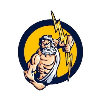 Potente logotipo de la mascota de zeus
