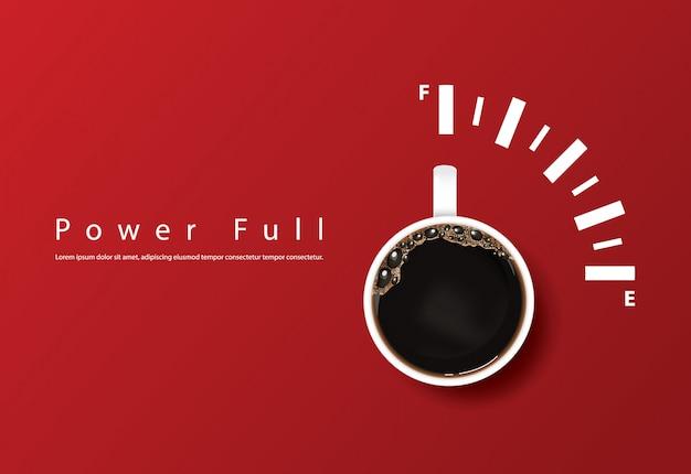 Potente taza de café, plantilla