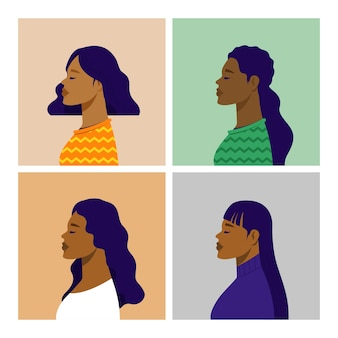 Potrait de vista lateral afroamericana. ilustración de vector plano.