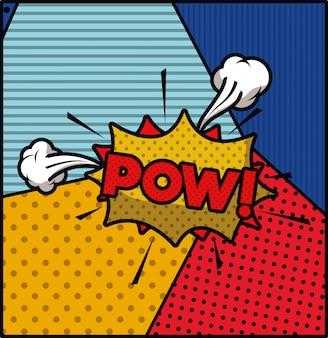 Pow palabra pop art estilo expresión vector