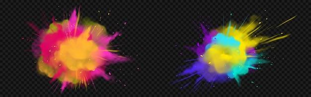 Powder holi pinta nubes de colores o explosiones, salpicaduras de tinta, tinte decorativo vibrante para el festival aislado, tradicional fiesta india. ilustración de vector 3d realista