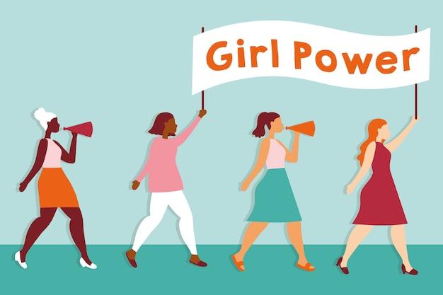 Power girl con chicas interraciales protestando con cartel, diseño de ilustraciones vectoriales