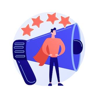 Pr y campaña de marketing. propaganda, noticias, radiodifusión. agencia de relaciones públicas. megáfono y estrellas de clasificación aisladas ilustración de concepto de elemento de diseño plano