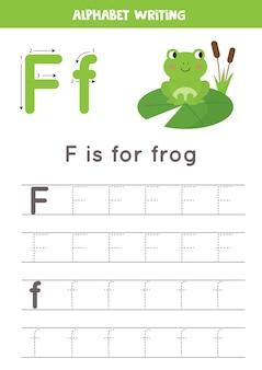 Práctica básica de escritura para niños de jardín de infantes. hoja de trabajo de rastreo alfabético con todas las letras az. rastreo de la letra f con una rana de dibujos animados lindo. juego educativo de gramática.