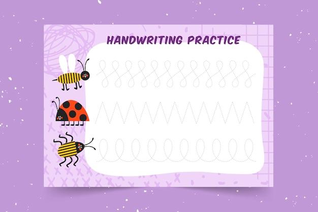 Práctica educativa de escritura a mano para niños