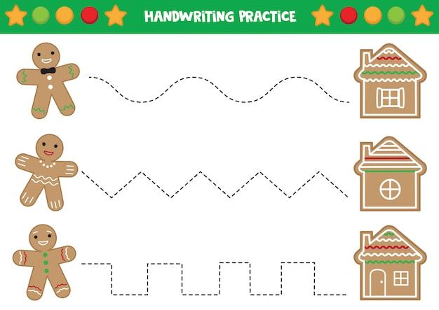 Práctica de escritura a mano con hombres de pan de jengibre y casas.