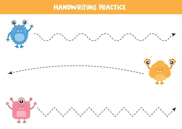 Práctica de escritura a mano para niños. conjunto de monstruos lindos