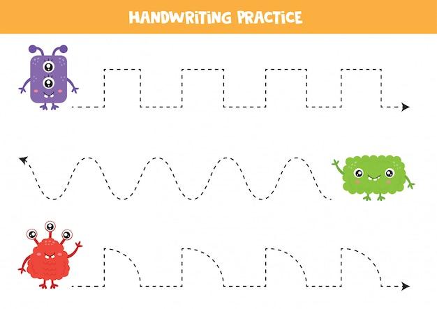 Práctica de escritura a mano para niños. monstruos lindos y coloridos.