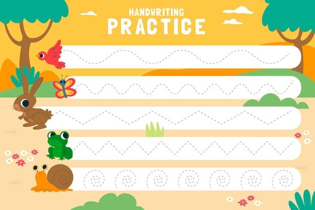 Práctica de escritura a mano para niños