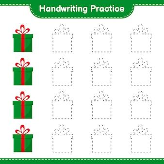 Práctica de escritura a mano. trazado de líneas de cajas de regalo. juego educativo para niños