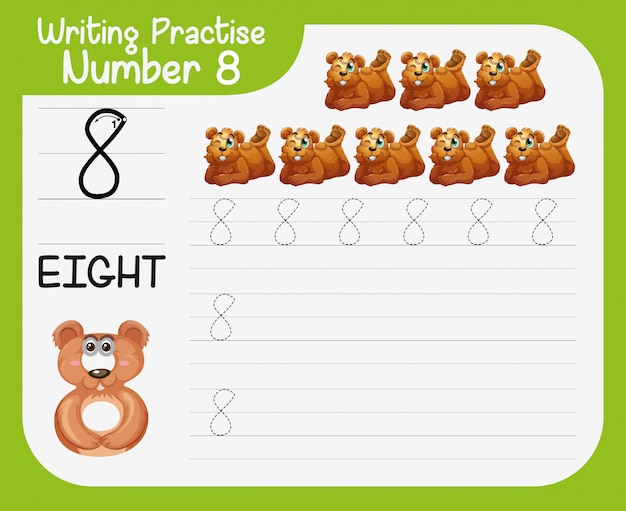 Práctica de escritura número ocho.