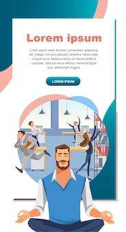 Práctica de yoga en banner de web de vector de trabajo de oficina