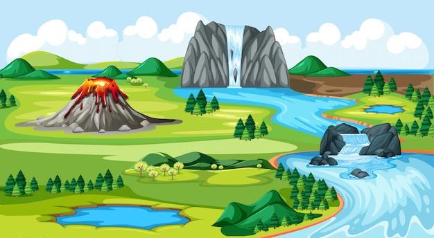 Pradera parque y volcán con agua caída escena del paisaje del lado del río