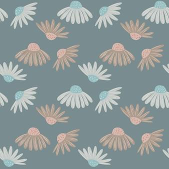 Prado de flores de patrones sin fisuras con adorno de margarita botánica