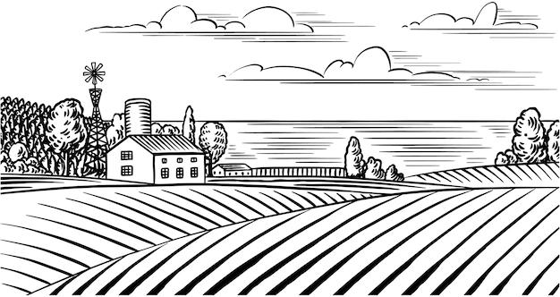 Prado rural. paisaje de aldea con vacas, colinas y una granja.