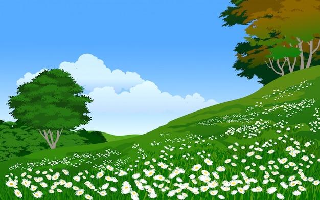 Prado verde con flores y árboles
