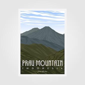 Prau mountain camp diseño de ilustración de cartel vintage, diseño de cartel al aire libre
