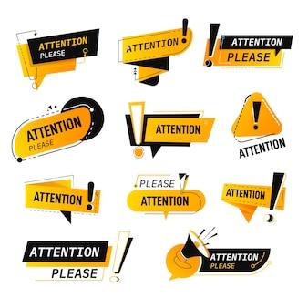Precaución y atención por favor, pancartas aisladas y etiquetas con signo de exclamación e inscripción