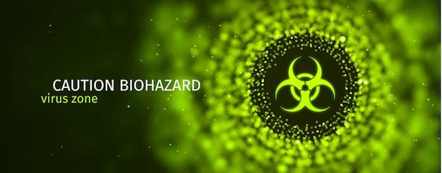 Precaución banner de epidemia de riesgo biológico signo tóxico sobre fondo verde borroso