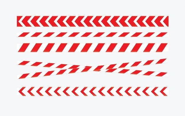 Precaución y cintas de peligro. cinta de advertencia. línea roja y blanca a rayas.