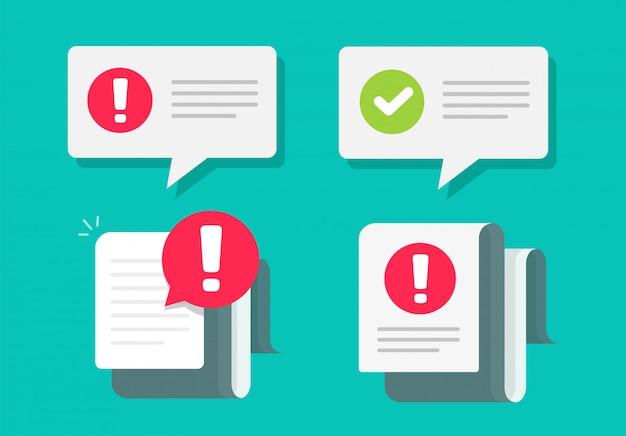 La precaución y la marca de verificación notan notificaciones importantes mensajes de texto push