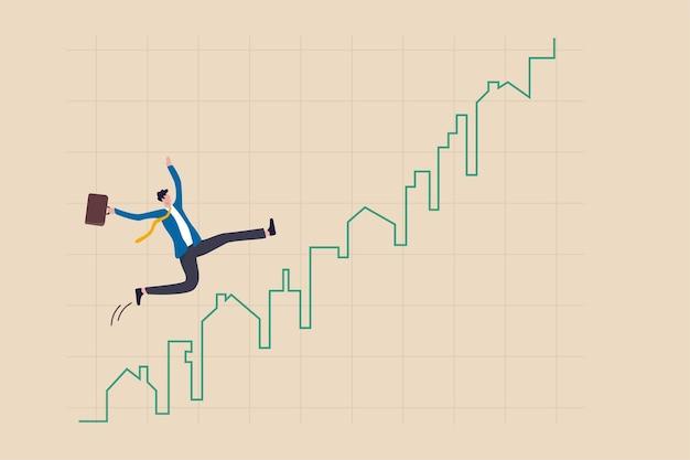 Precio del mercado inmobiliario subiendo gráfico, comprador de vivienda o concepto de inversión inmobiliaria, empresario comprador de vivienda o agente de bienes raíces feliz corriendo en levantarse casa y construir gráfico y gráfico verde.