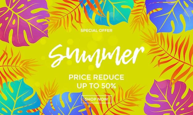 Precio de venta de verano reducir banner de hoja de palma de vector de compras
