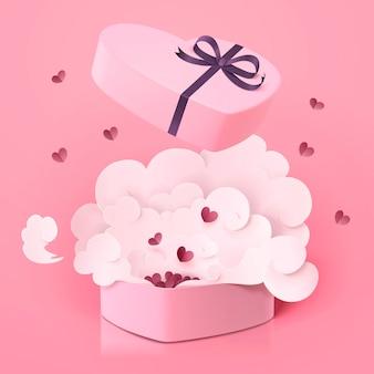 Preciosa caja de regalo en forma de corazón con smog en superficie rosa, estilo de arte de papel en estilo 3d