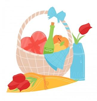 Preciosa cesta de regalo de comida actual, amante traer caja de dulces en forma de corazón y ramo de flores aisladas en blanco, ilustración de dibujos animados