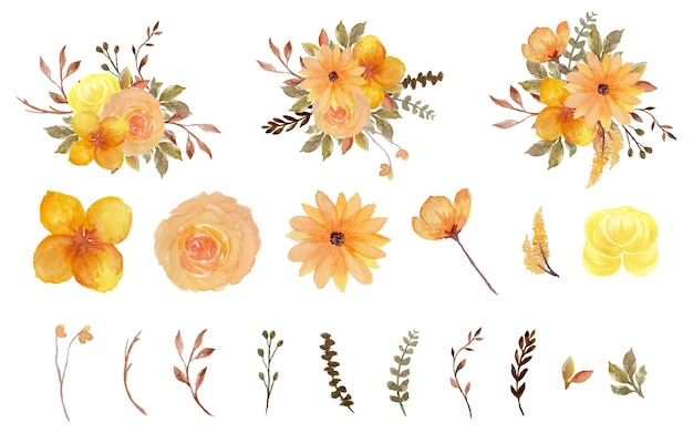 Preciosa colección de flores de acuarela individuales amarillas y marrones