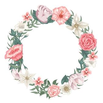 Preciosa guirnalda de rosas, tulipanes y flores diferentes.