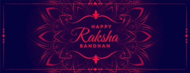Preciosa pancarta decorativa de estilo neón de raksha bandhan
