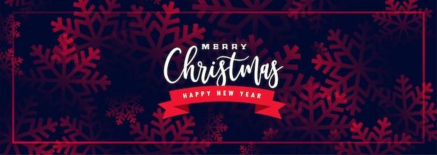 Preciosa pancarta de feliz navidad con patrón de copos de nieve