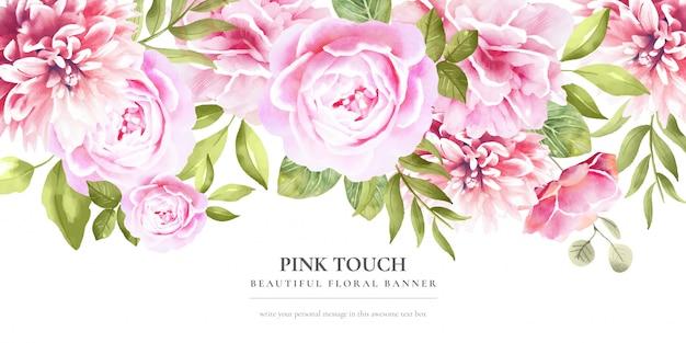 Preciosa pancarta floral con flores rosas