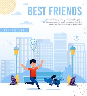 Preciosa pancarta que promueve la amistad con los animales