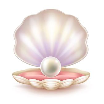 Preciosa perla en cáscara abierta.