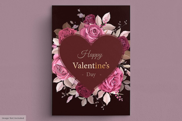Preciosa plantilla de tarjeta de san valentín granate