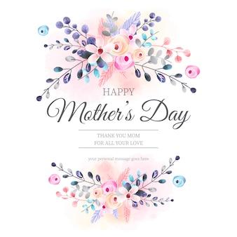 Preciosa tarjeta del día de la madre con adornos florales de acuarela