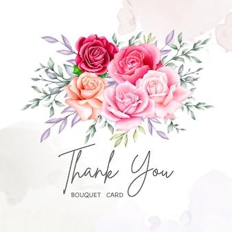 Preciosa tarjeta floral con mensaje de agradecimiento