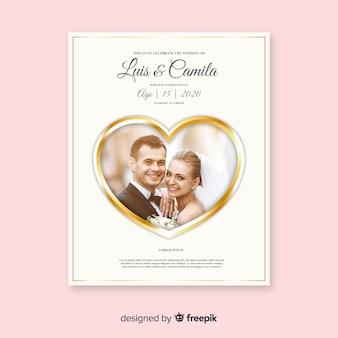 Preciosa tarjeta de invitación para bodas, plantilla con foto