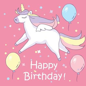 Preciosa unicornio en fondo rosado con los globos y el texto del feliz cumpleaños.
