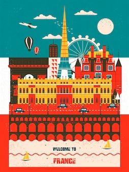 Precioso cartel de viaje de francia con atracciones famosas