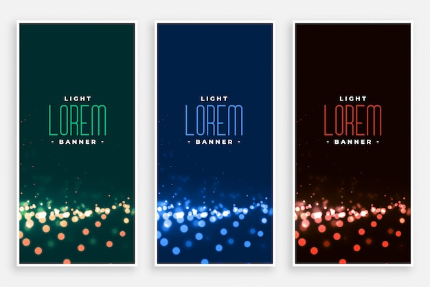 Precioso conjunto de banners de luces bokeh.